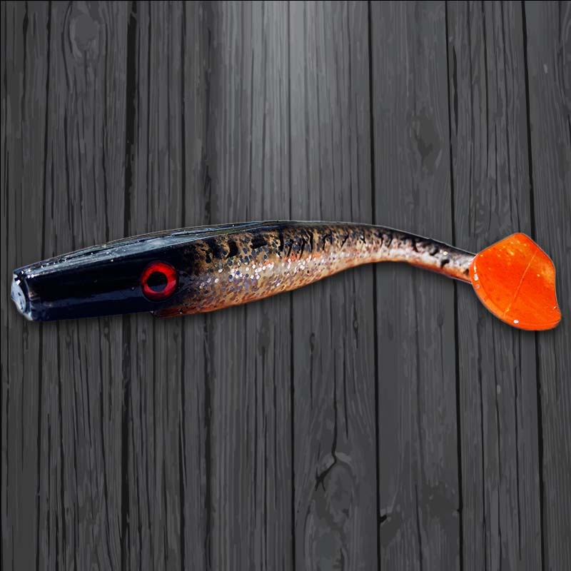 Pig Shad Jr 20cm - Custom - Glitter Shad Hot Tail UV